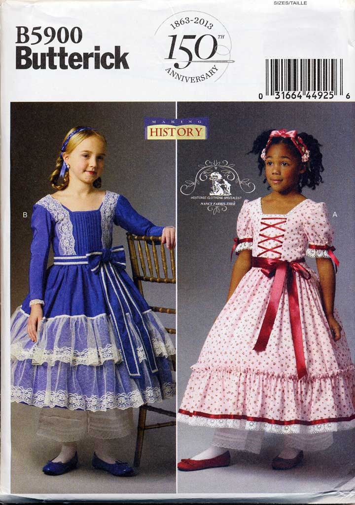 2013-BUTTERICK-PATTERN-5900-GIRLS-SZ-2-5-VICTORIAN-ERA-HISTORY-COSTUME-DRESS