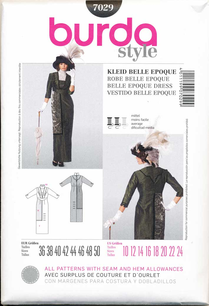 BURDA-SEWING-PATTERN-7029-10-24-HISTORICAL-VICTORIAN-EDWARDIAN-TITANIC-ERA-DRESS