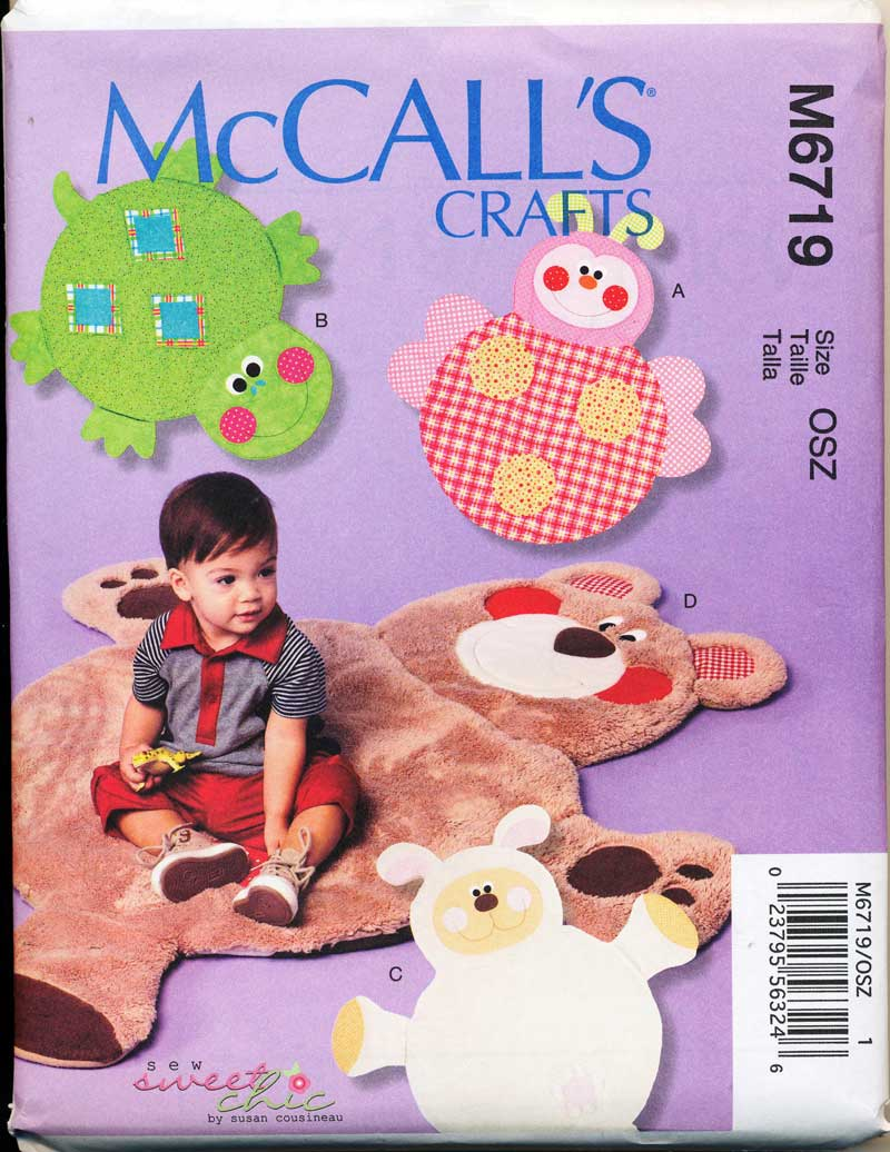 MCCALLS-PATTERN-6719-BABY-TODDLERS-ANIMAL-PLAY-MATS-TURTLE-LAMB-LADYBIRD-BEAR