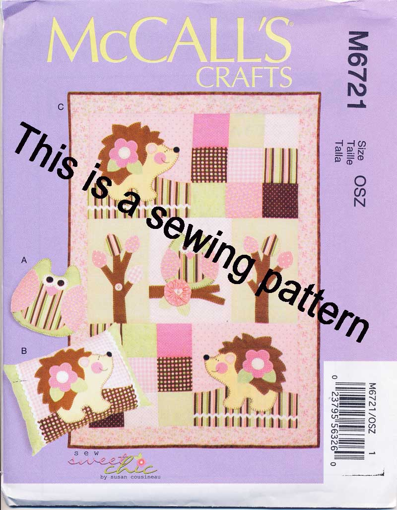 Mccalls Sewing Pattern 6721 Baby OWL Hedgehog Quilt Throw Pillows W Appliques eBay