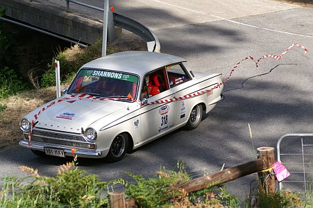 Image: GT4 holding up a Cortina at Suncoast Classic