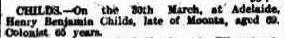 Henry Benjamin Childs death notice - 1904